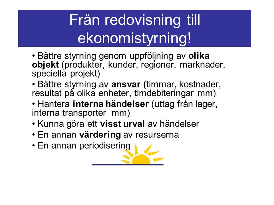Från redovisning till ekonomistyrning! Bättre styrning genom uppföljning av olika objekt (produkter, kunder, regioner, marknader, speciella projekt) B