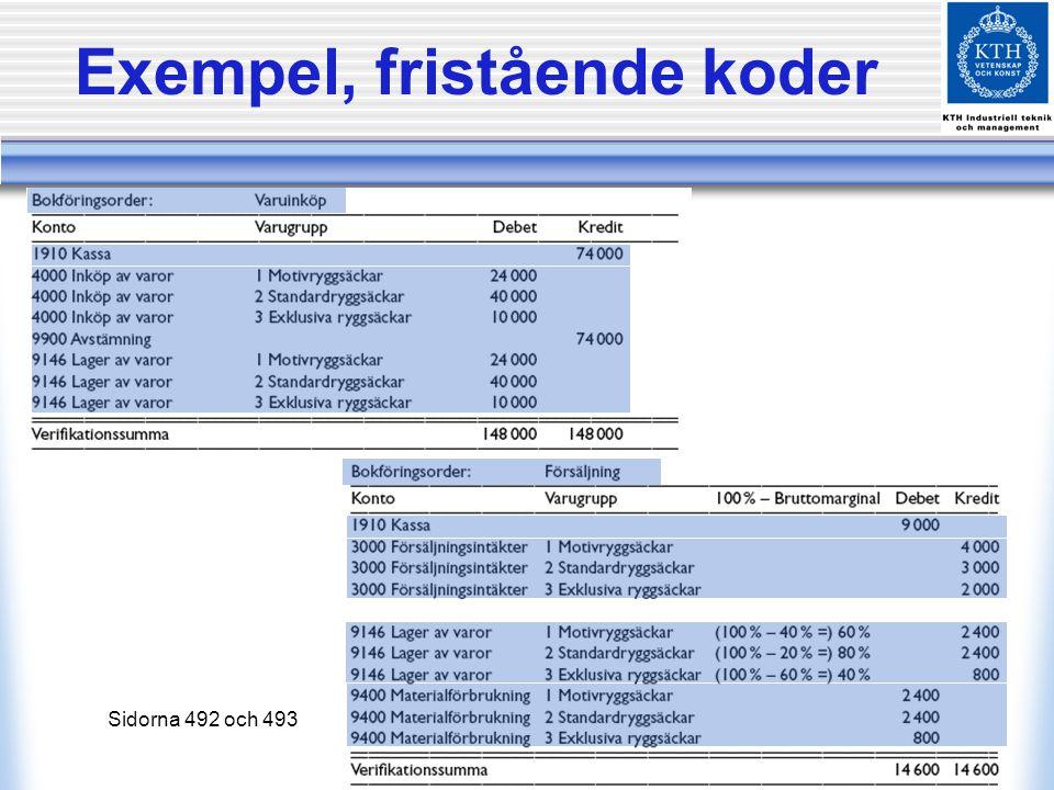 Exempel, fristående koder Sidorna 492 och 493