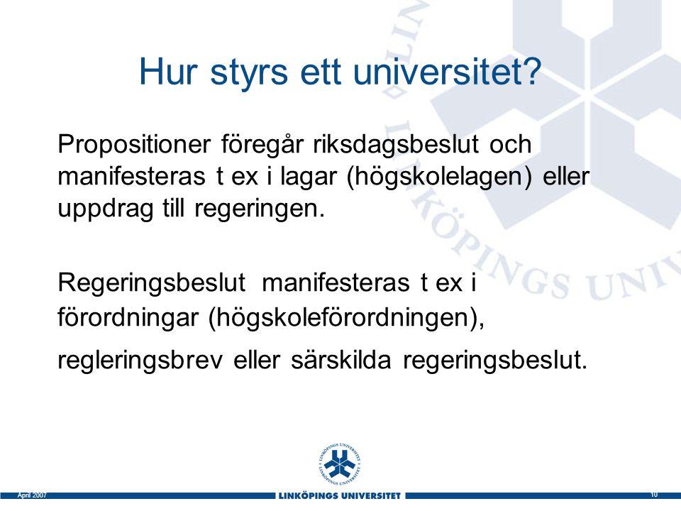 10 April 2007 Hur styrs ett universitet? Propositioner föregår riksdagsbeslut och manifesteras t ex i lagar (högskolelagen) eller uppdrag till regerin