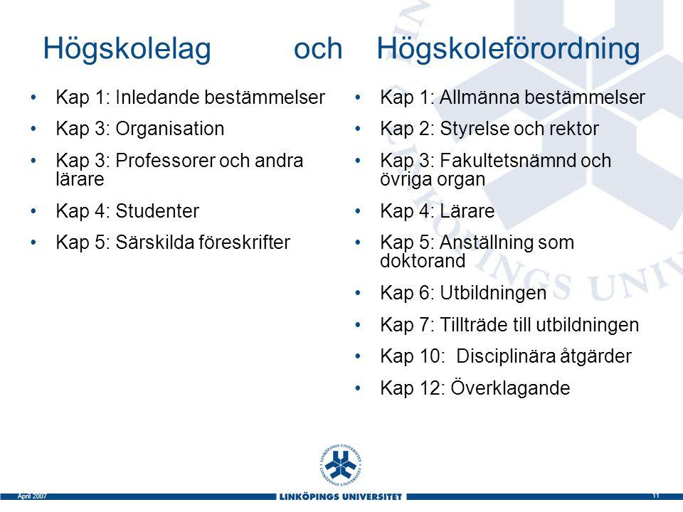 11 April 2007 Högskolelag och Högskoleförordning Kap 1: Inledande bestämmelser Kap 3: Organisation Kap 3: Professorer och andra lärare Kap 4: Studente