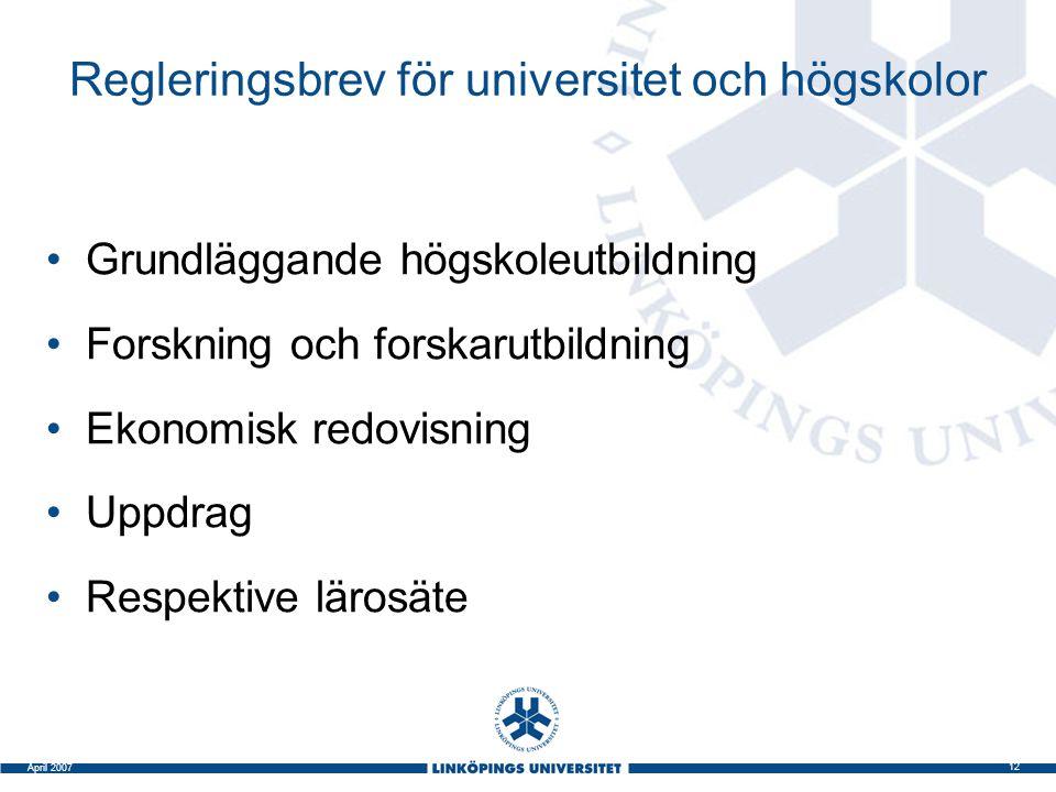 12 April 2007 Regleringsbrev för universitet och högskolor Grundläggande högskoleutbildning Forskning och forskarutbildning Ekonomisk redovisning Uppd