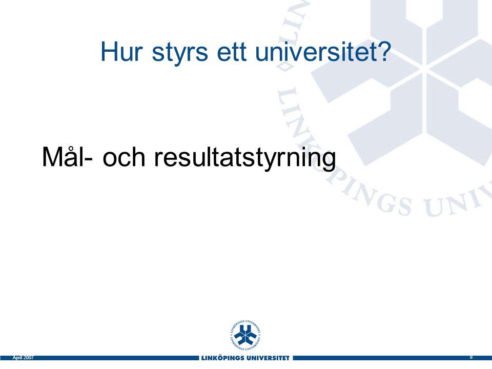 8 April 2007 Hur styrs ett universitet? Mål- och resultatstyrning