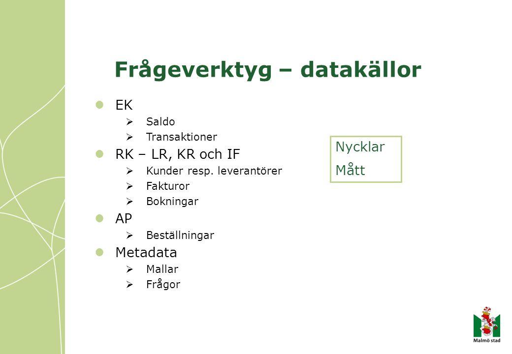 Frågeverktyg – datakällor EK  Saldo  Transaktioner RK – LR, KR och IF  Kunder resp.