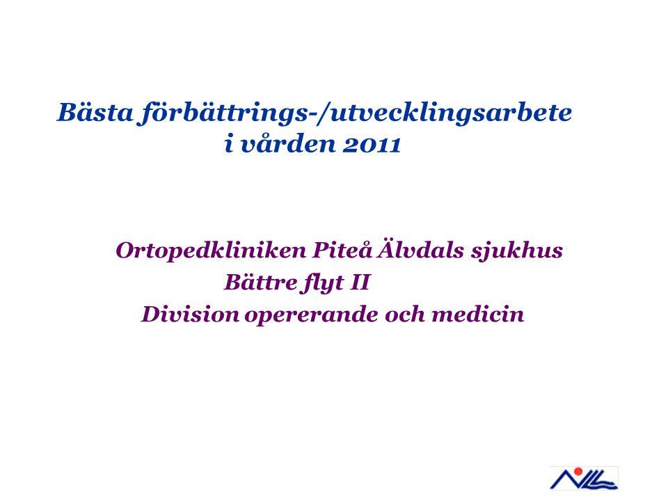 Bästa förbättrings-/utvecklingsarbete i vården 2011 Ortopedkliniken Piteå Älvdals sjukhus Bättre flyt II Division opererande och medicin