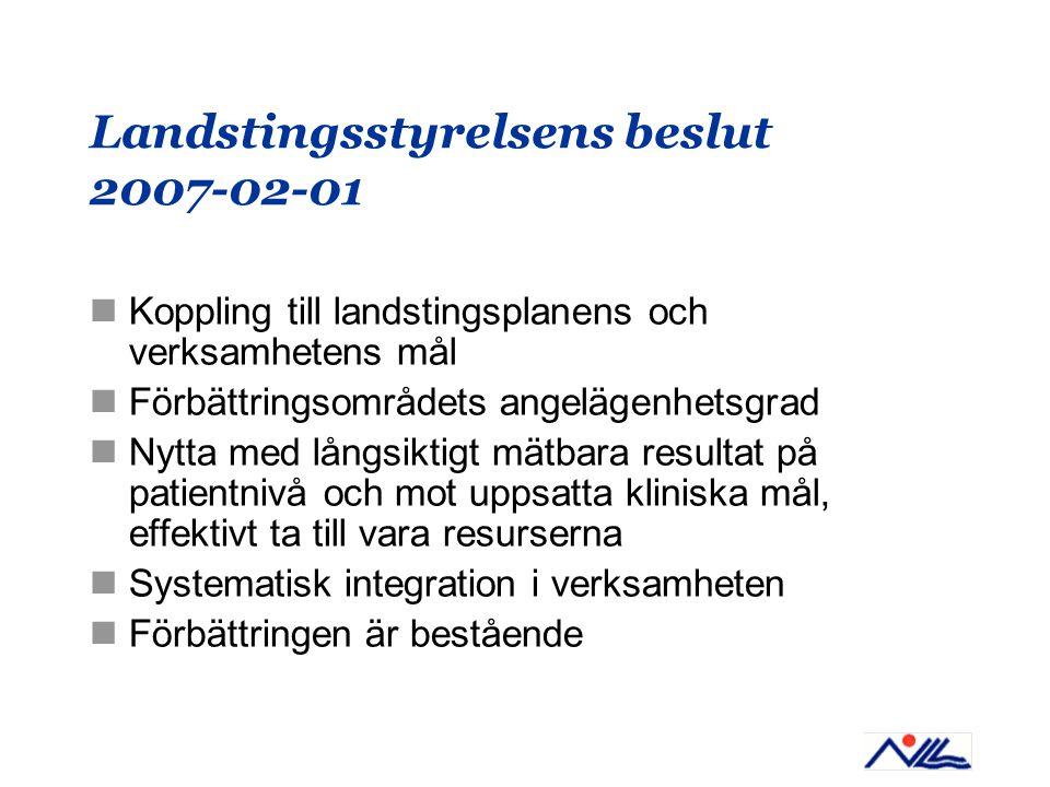 Landstingsstyrelsens beslut 2007-02-01 Koppling till landstingsplanens och verksamhetens mål Förbättringsområdets angelägenhetsgrad Nytta med långsiktigt mätbara resultat på patientnivå och mot uppsatta kliniska mål, effektivt ta till vara resurserna Systematisk integration i verksamheten Förbättringen är bestående