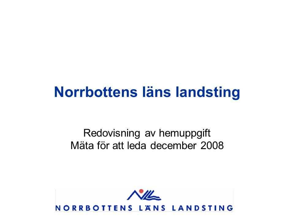 Norrbottens läns landsting Redovisning av hemuppgift Mäta för att leda december 2008