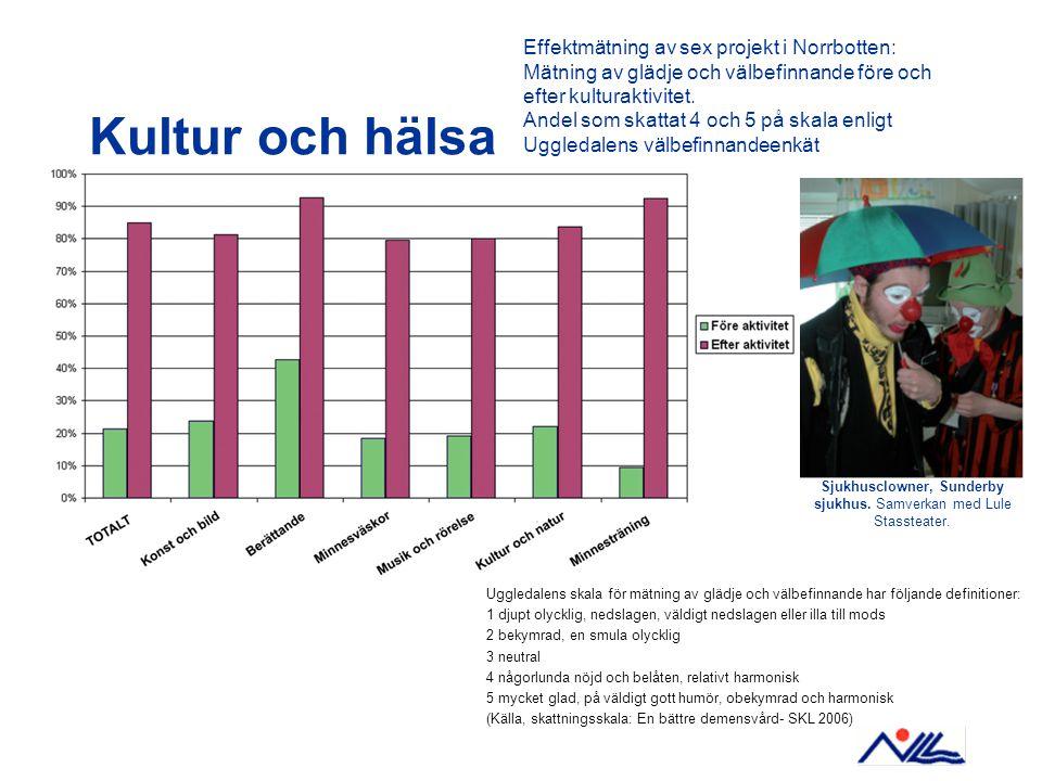 Kultur och hälsa Effektmätning av sex projekt i Norrbotten: Mätning av glädje och välbefinnande före och efter kulturaktivitet.
