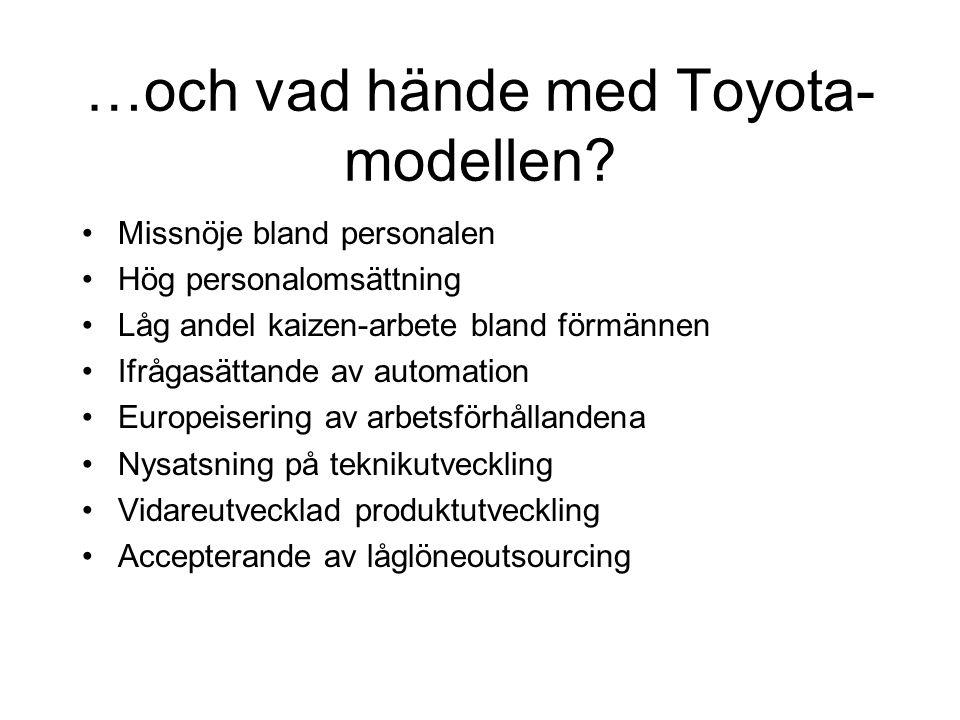 …och vad hände med Toyota- modellen? Missnöje bland personalen Hög personalomsättning Låg andel kaizen-arbete bland förmännen Ifrågasättande av automa