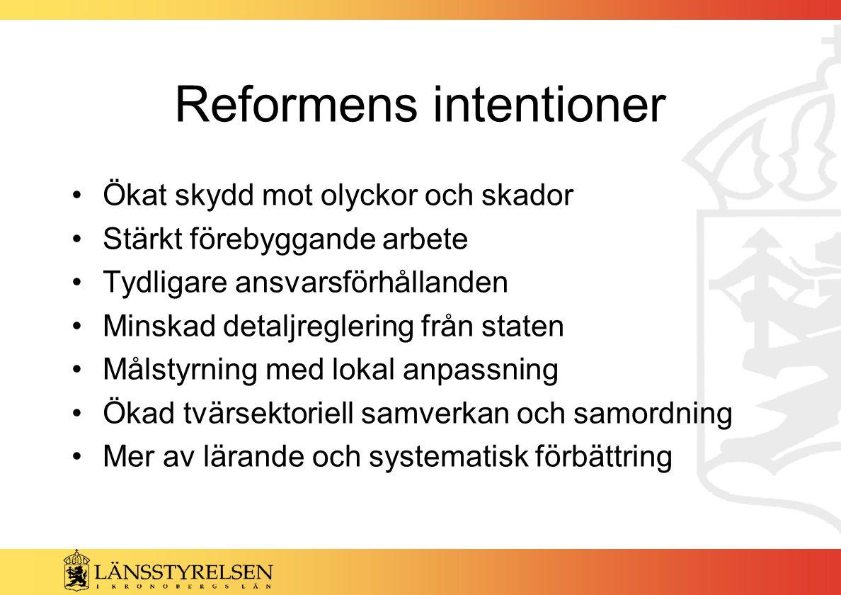 Sammanfattningsvis Reformen har utvecklats enligt intentionerna men utvecklingen har gått för långsamt Mycket arbete återstår när det gäller tillämpningen av lagen, inte minst den kommunala styrningen av säkerhetsarbetet med mål, handlingsprogram, samverkan, genomförande, uppföljning och förbättring.