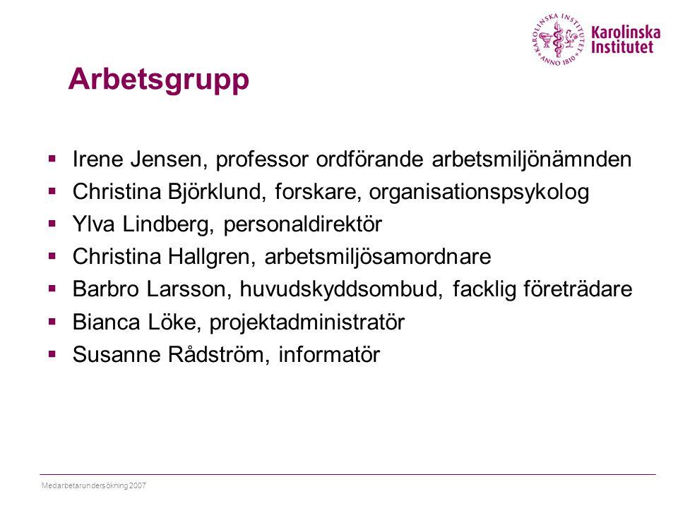 Medarbetarundersökning 2007 Arbetsgrupp  Irene Jensen, professor ordförande arbetsmiljönämnden  Christina Björklund, forskare, organisationspsykolog
