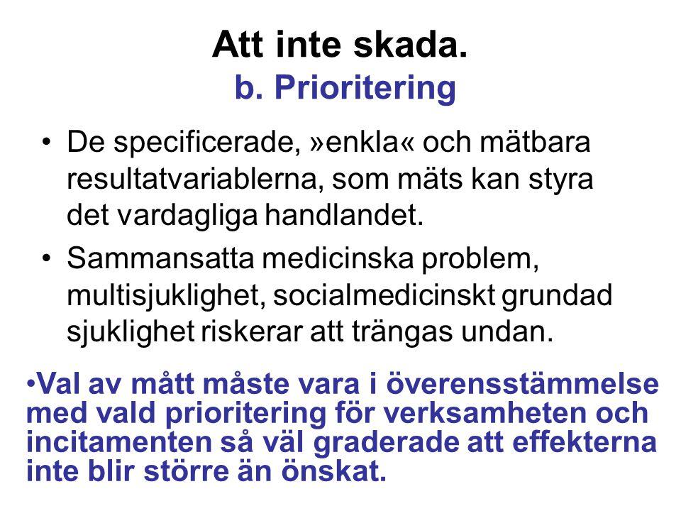 Att inte skada. b. Prioritering De specificerade, »enkla« och mätbara resultatvariablerna, som mäts kan styra det vardagliga handlandet. Sammansatta m