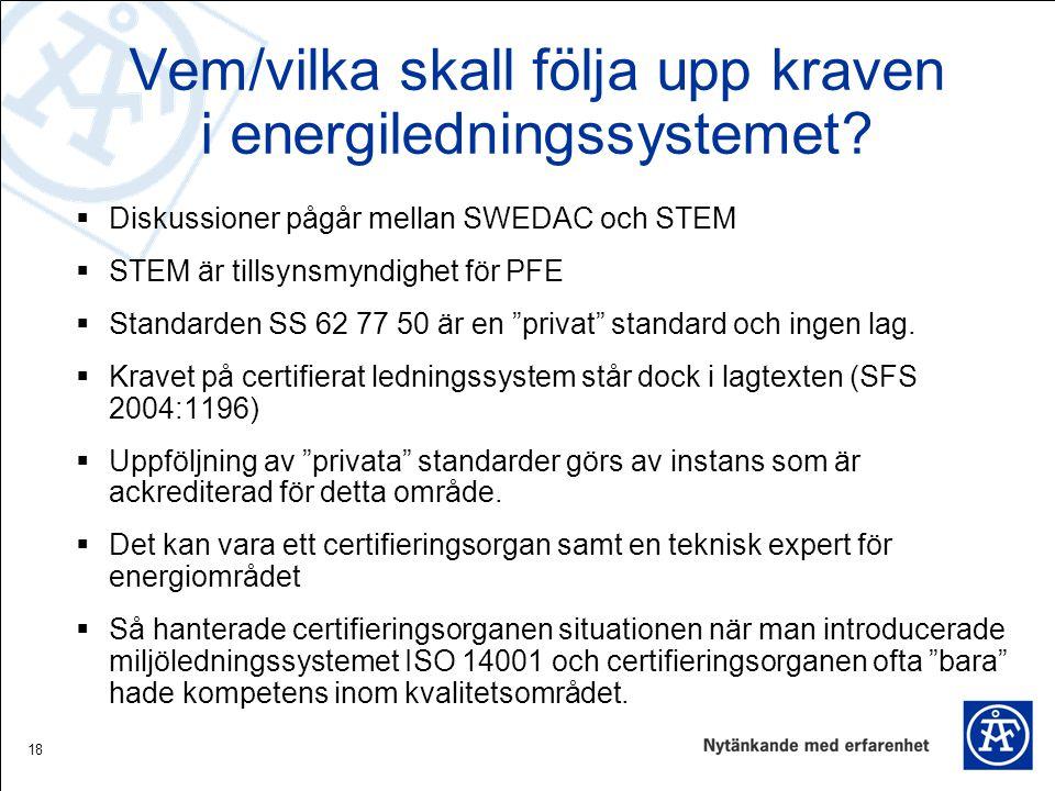 18 Vem/vilka skall följa upp kraven i energiledningssystemet?  Diskussioner pågår mellan SWEDAC och STEM  STEM är tillsynsmyndighet för PFE  Standa