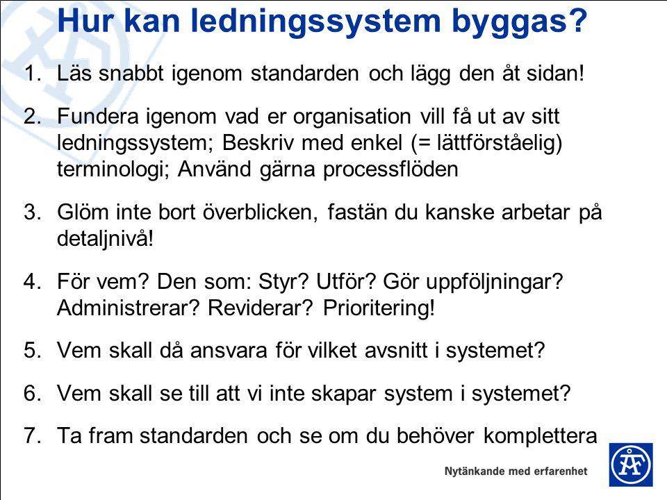 Hur kan ledningssystem byggas? 1.Läs snabbt igenom standarden och lägg den åt sidan! 2.Fundera igenom vad er organisation vill få ut av sitt ledningss