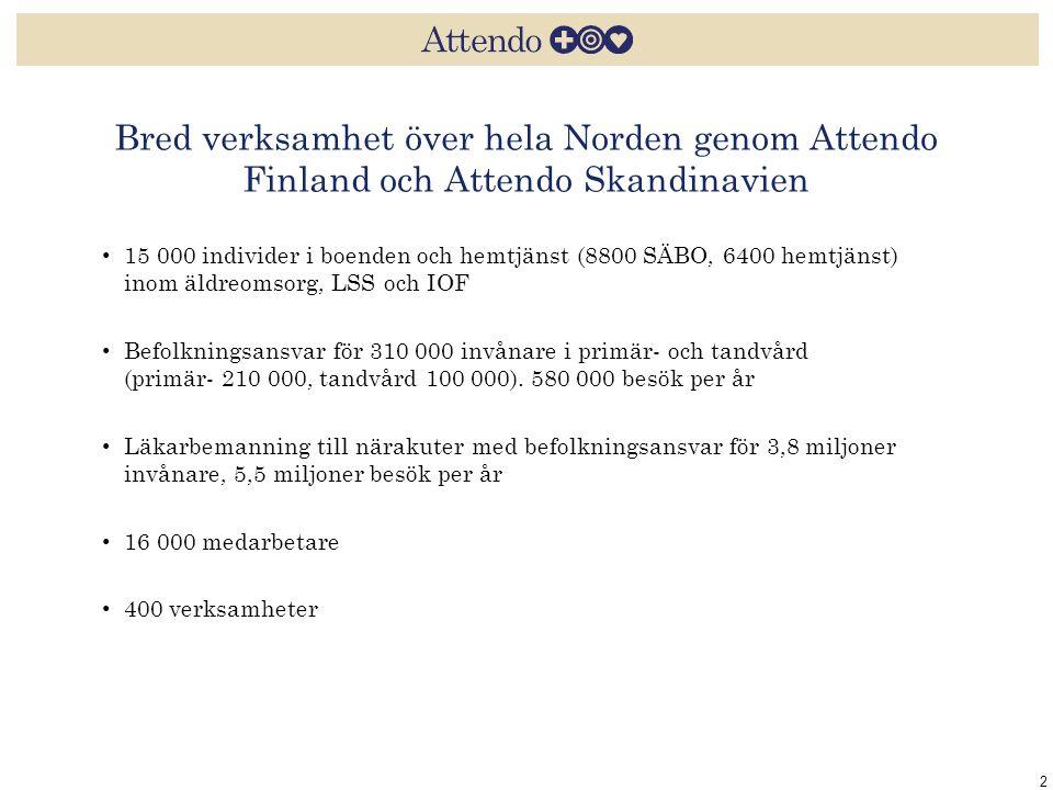 Bred verksamhet över hela Norden genom Attendo Finland och Attendo Skandinavien 2 15 000 individer i boenden och hemtjänst (8800 SÄBO, 6400 hemtjänst)