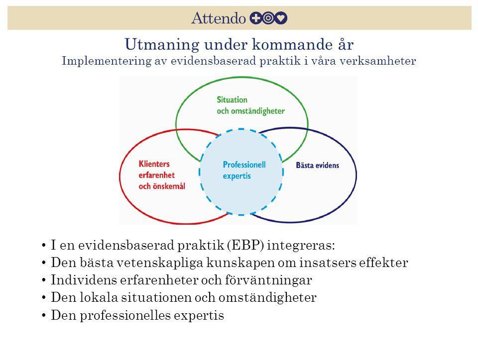 Utmaning under kommande år Implementering av evidensbaserad praktik i våra verksamheter I en evidensbaserad praktik (EBP) integreras: Den bästa vetens