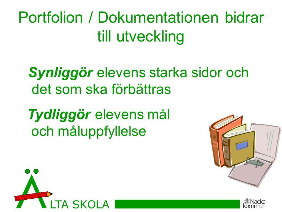 Portfolion / Dokumentationen bidrar till utveckling Tydliggör elevens mål och måluppfyllelse Synliggör elevens starka sidor och det som ska förbättras LTA SKOLA