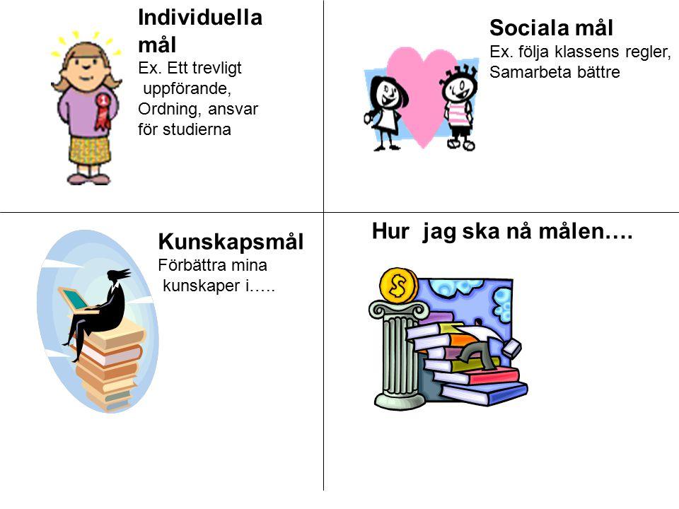 Individuella mål Ex. Ett trevligt uppförande, Ordning, ansvar för studierna Sociala mål Ex. följa klassens regler, Samarbeta bättre Kunskapsmål Förbät