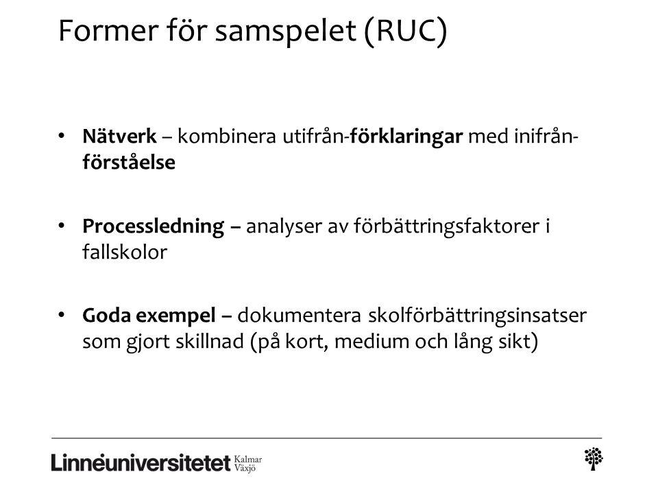 Former för samspelet (RUC) Nätverk – kombinera utifrån-förklaringar med inifrån- förståelse Processledning – analyser av förbättringsfaktorer i fallsk