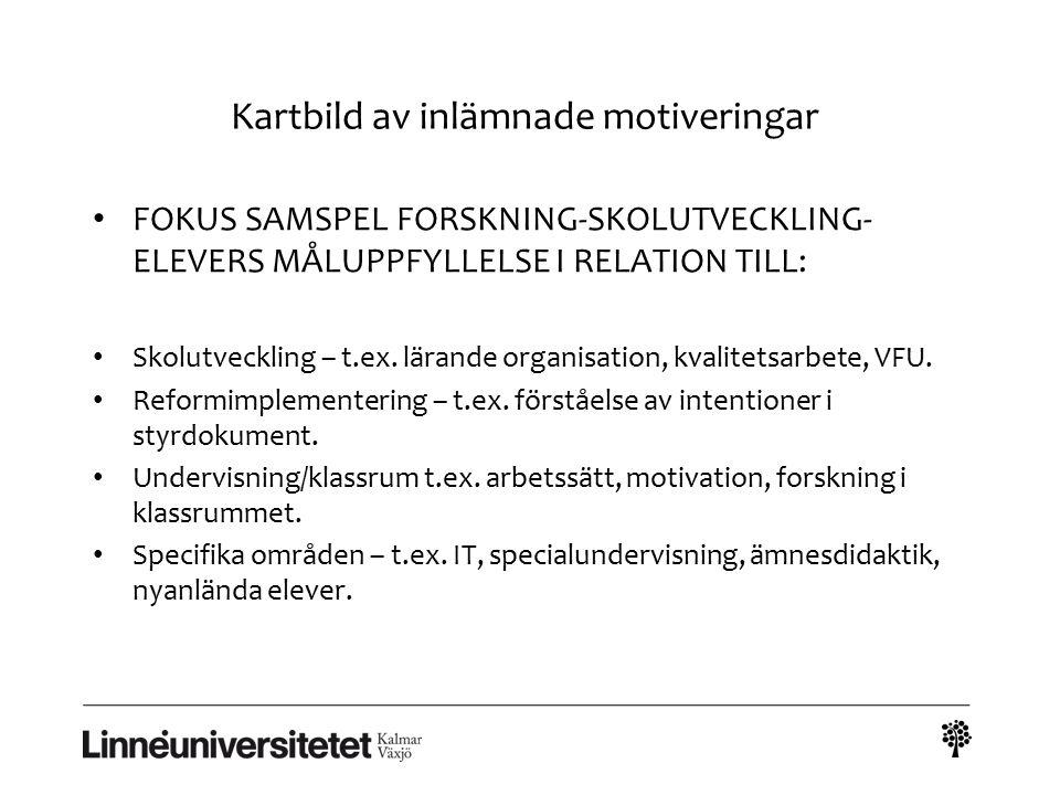 Kartbild av inlämnade motiveringar FOKUS SAMSPEL FORSKNING-SKOLUTVECKLING- ELEVERS MÅLUPPFYLLELSE I RELATION TILL: Skolutveckling – t.ex. lärande orga