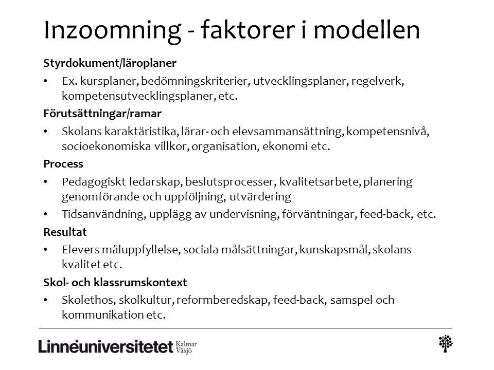 Inzoomning - faktorer i modellen Styrdokument/läroplaner Ex. kursplaner, bedömningskriterier, utvecklingsplaner, regelverk, kompetensutvecklingsplaner