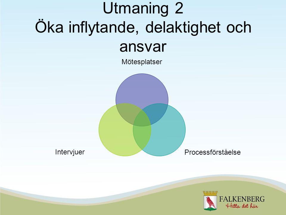 Utmaning 2 Öka inflytande, delaktighet och ansvar Mötesplatser Processförståelse Intervjuer
