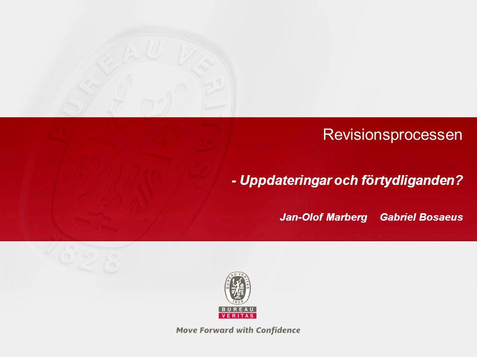Revisionsprocessen - Uppdateringar och förtydliganden? Jan-Olof Marberg Gabriel Bosaeus