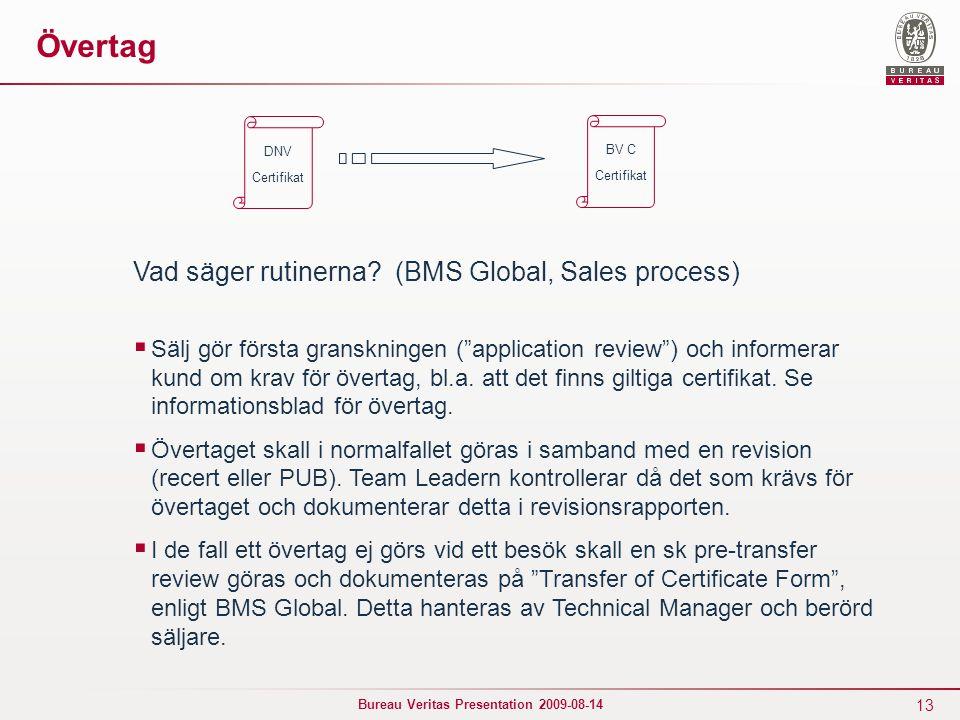 13 Bureau Veritas Presentation 2009-08-14 Övertag Vad säger rutinerna.