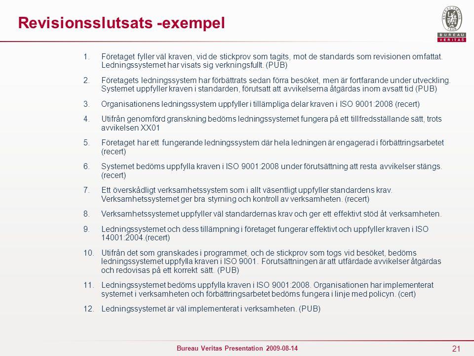 21 Bureau Veritas Presentation 2009-08-14 Revisionsslutsats -exempel 1.Företaget fyller väl kraven, vid de stickprov som tagits, mot de standards som revisionen omfattat.