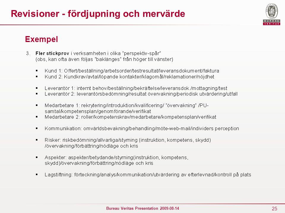 25 Bureau Veritas Presentation 2009-08-14 Revisioner - fördjupning och mervärde Exempel