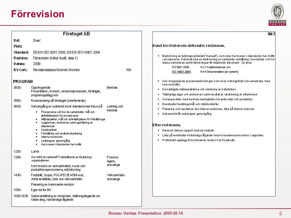5 Bureau Veritas Presentation 2009-08-14 Förrevision