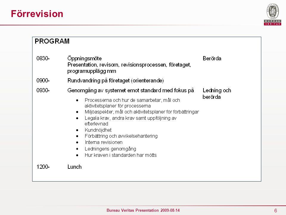 6 Bureau Veritas Presentation 2009-08-14 Förrevision