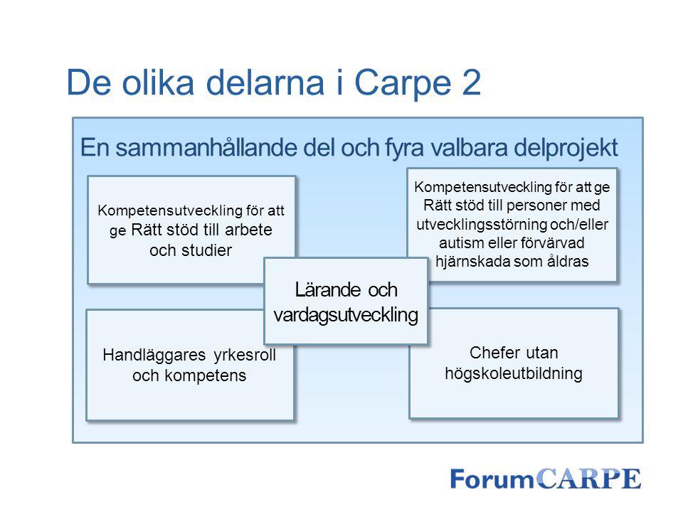 De olika delarna i Carpe 2 En sammanhållande del och fyra valbara delprojekt Chefer utan högskoleutbildning Handläggares yrkesroll och kompetens Kompe