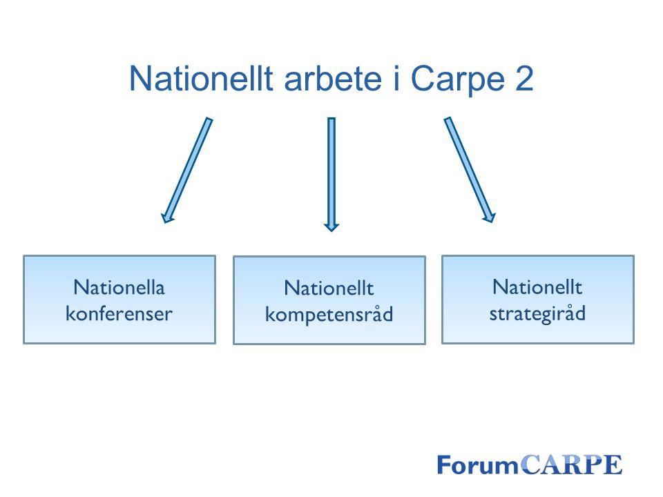 Nationellt arbete i Carpe 2 Nationella konferenser Nationellt kompetensråd Nationellt strategiråd
