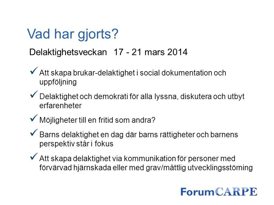 Vad har gjorts? Delaktighetsveckan 17 - 21 mars 2014 Att skapa brukar-delaktighet i social dokumentation och uppföljning Delaktighet och demokrati för