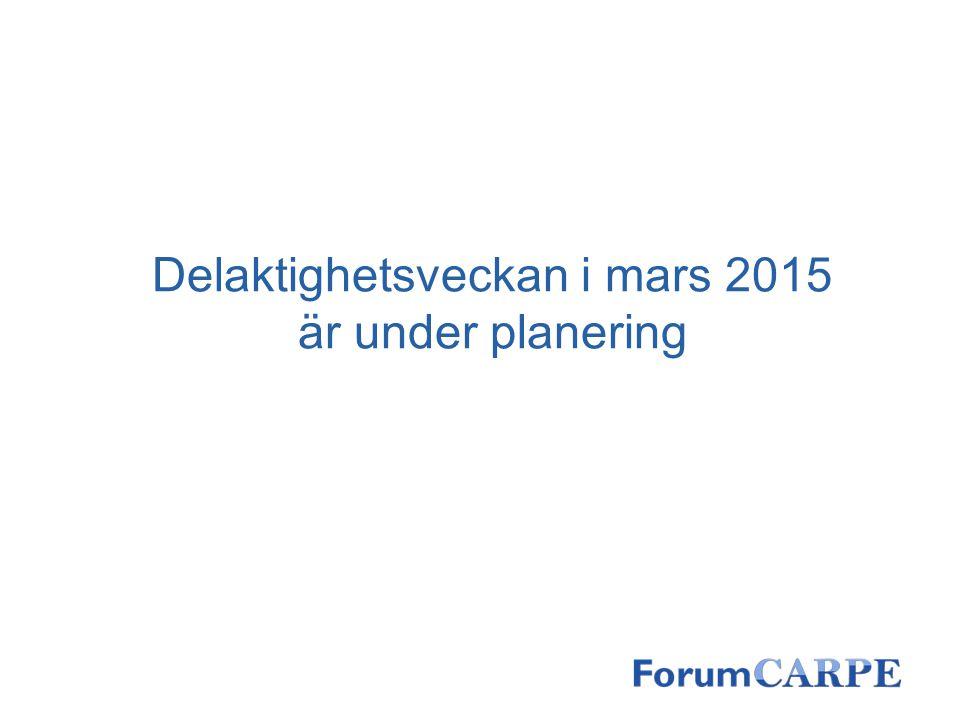 Delaktighetsveckan i mars 2015 är under planering