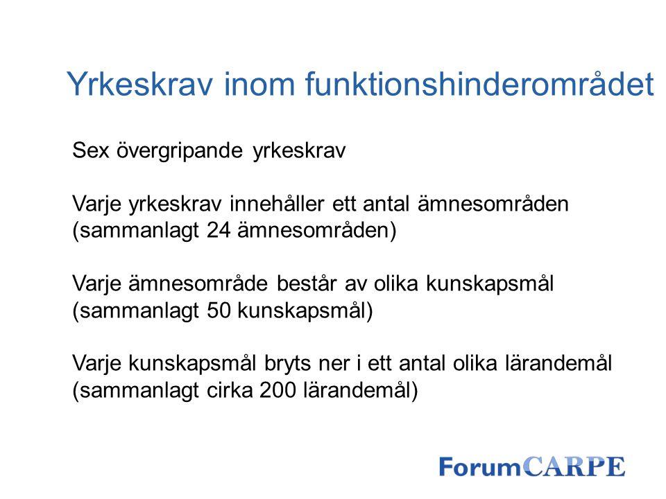 Yrkeskrav inom funktionshinderområdet Sex övergripande yrkeskrav Varje yrkeskrav innehåller ett antal ämnesområden (sammanlagt 24 ämnesområden) Varje