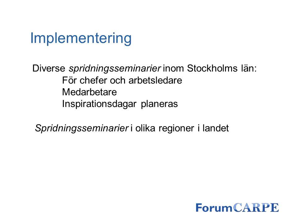 Implementering Diverse spridningsseminarier inom Stockholms län: För chefer och arbetsledare Medarbetare Inspirationsdagar planeras Spridningsseminari