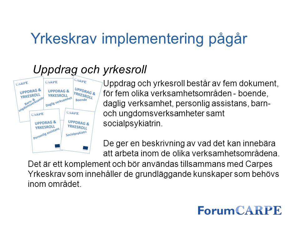 Yrkeskrav implementering pågår Uppdrag och yrkesroll Uppdrag och yrkesroll består av fem dokument, för fem olika verksamhetsområden - boende, daglig v