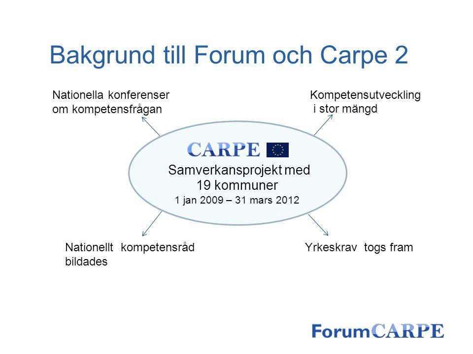 Bakgrund till Forum och Carpe 2 Samverkansprojekt med 19 kommuner 1 jan 2009 – 31 mars 2012 Kompetensutveckling i stor mängd Yrkeskrav togs fram Natio