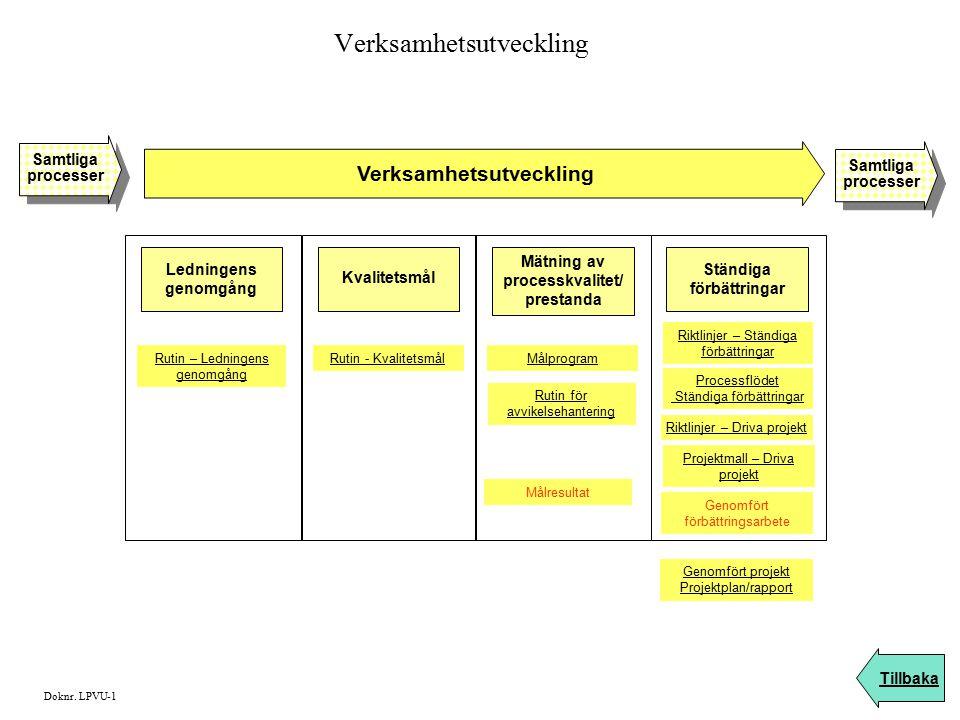 Verksamhetsutveckling Tillbaka Samtliga processer Samtliga processer Samtliga processer Samtliga processer Doknr. LPVU-1 Ledningens genomgång Kvalitet