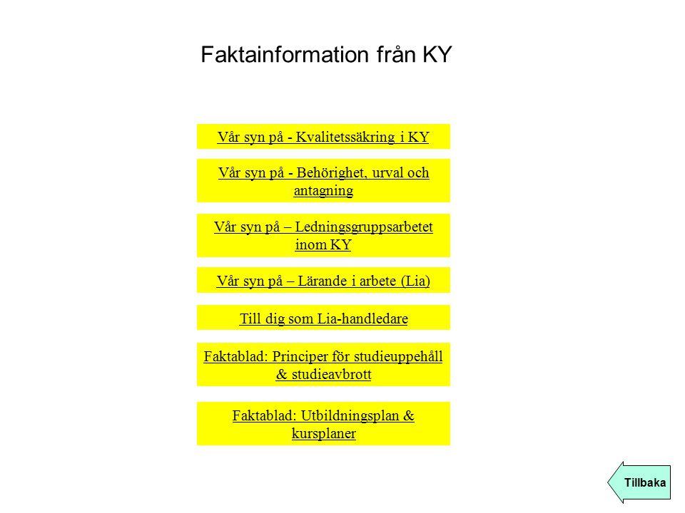 Faktainformation från KY Tillbaka Vår syn på – Lärande i arbete (Lia) Vår syn på - Kvalitetssäkring i KY Vår syn på – Ledningsgruppsarbetet inom KY Fa