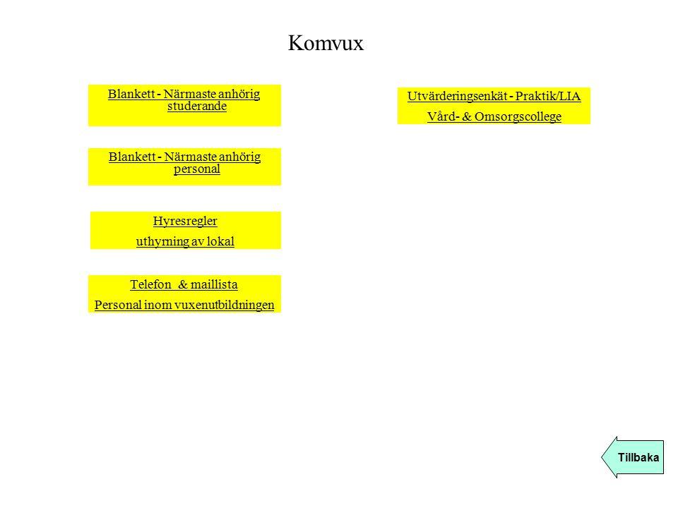Blankett - Närmaste anhörig studerande Komvux Tillbaka Blankett - Närmaste anhörig personal Hyresregler uthyrning av lokal Telefon & maillista Persona