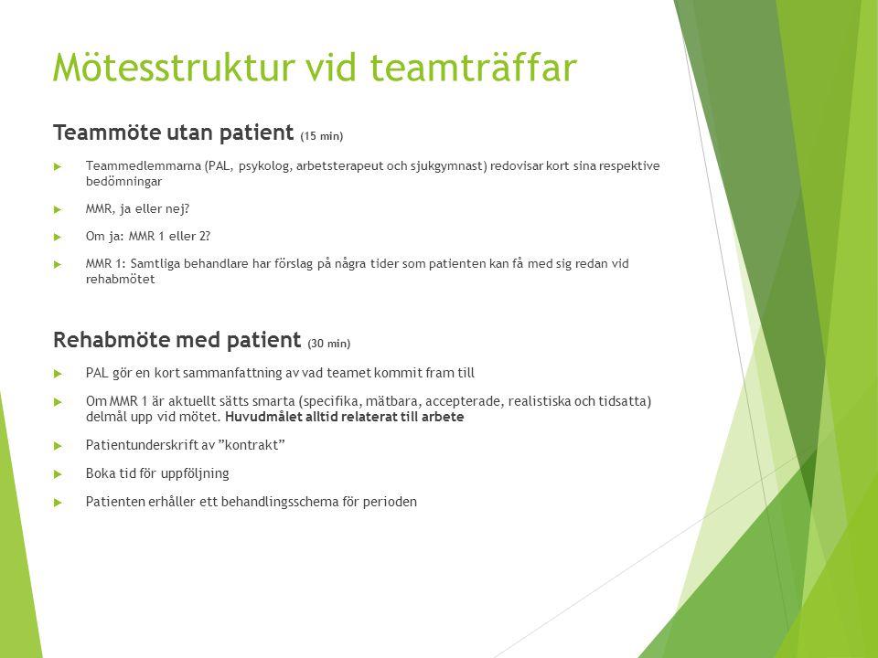 Mötesstruktur vid teamträffar Teammöte utan patient (15 min)  Teammedlemmarna (PAL, psykolog, arbetsterapeut och sjukgymnast) redovisar kort sina res