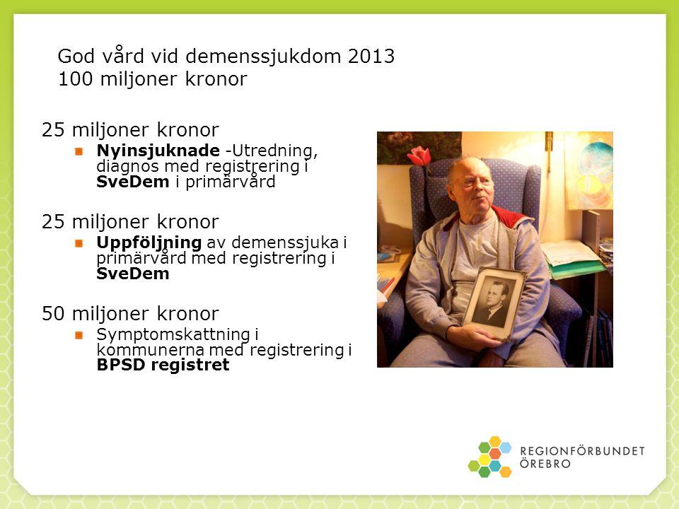 God vård vid demenssjukdom 2013 100 miljoner kronor 25 miljoner kronor Nyinsjuknade -Utredning, diagnos med registrering i SveDem i primärvård 25 milj