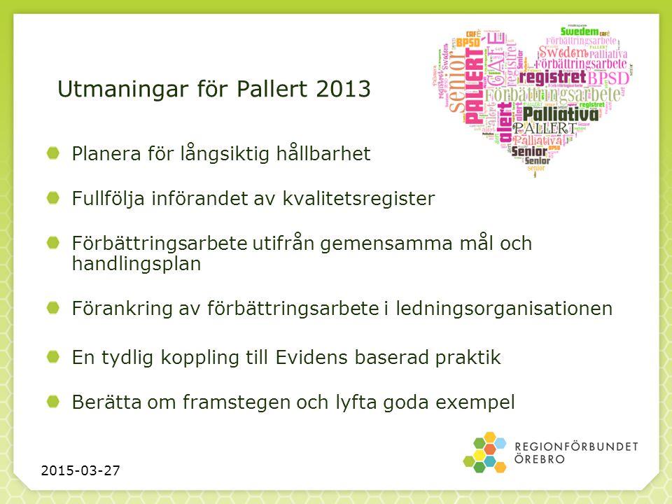 Utmaningar för Pallert 2013 Planera för långsiktig hållbarhet Fullfölja införandet av kvalitetsregister Förbättringsarbete utifrån gemensamma mål och
