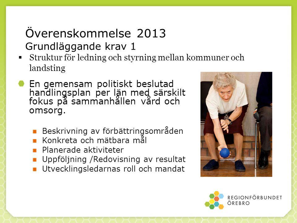 Överenskommelse 2013 Grundläggande krav 1 En gemensam politiskt beslutad handlingsplan per län med särskilt fokus på sammanhållen vård och omsorg. Bes