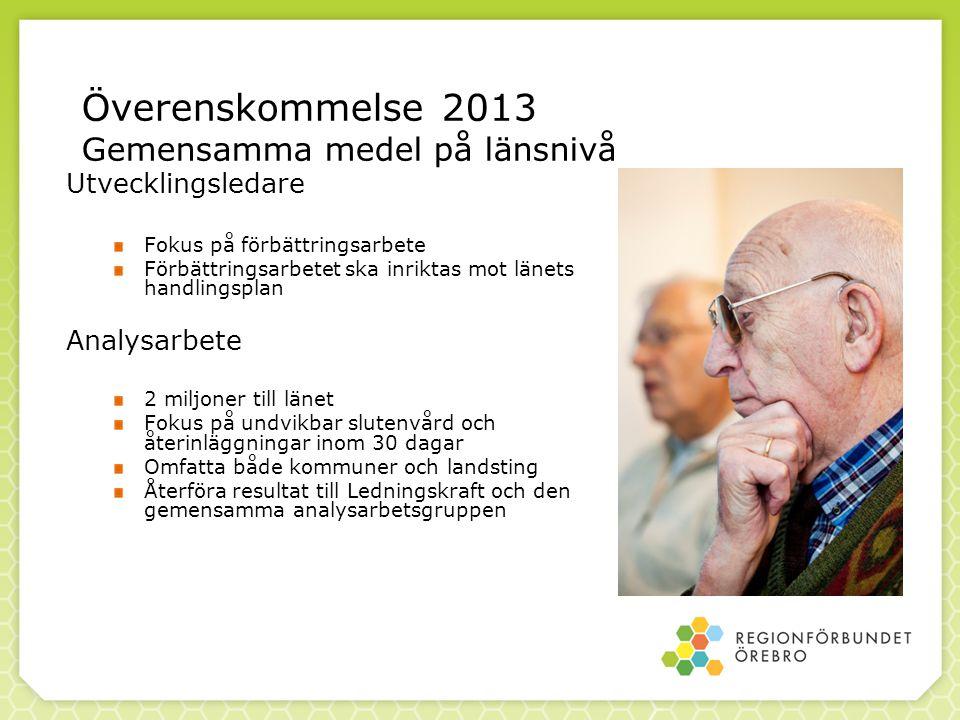 Överenskommelse 2013 Gemensamma medel på länsnivå Utvecklingsledare Fokus på förbättringsarbete Förbättringsarbetet ska inriktas mot länets handlingsp