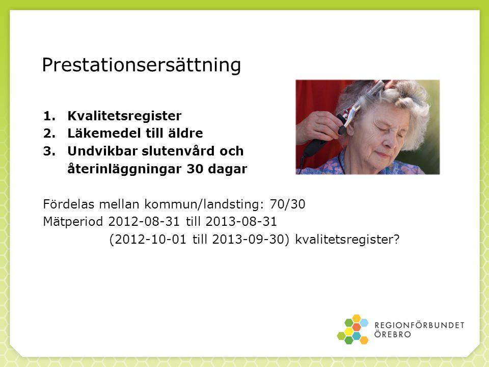 Prestationsersättning 1.Kvalitetsregister 2.Läkemedel till äldre 3.Undvikbar slutenvård och återinläggningar 30 dagar Fördelas mellan kommun/landsting