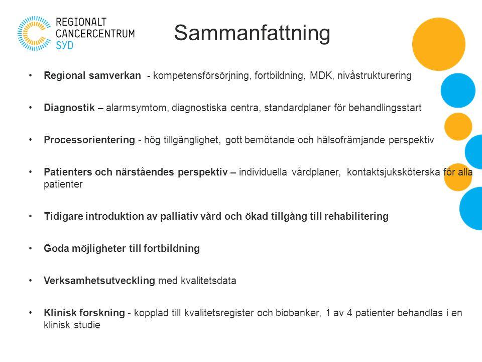 Sammanfattning Regional samverkan - kompetensförsörjning, fortbildning, MDK, nivåstrukturering Diagnostik – alarmsymtom, diagnostiska centra, standardplaner för behandlingsstart Processorientering - hög tillgänglighet, gott bemötande och hälsofrämjande perspektiv Patienters och närståendes perspektiv – individuella vårdplaner, kontaktsjuksköterska för alla patienter Tidigare introduktion av palliativ vård och ökad tillgång till rehabilitering Goda möjligheter till fortbildning Verksamhetsutveckling med kvalitetsdata Klinisk forskning - kopplad till kvalitetsregister och biobanker, 1 av 4 patienter behandlas i en klinisk studie