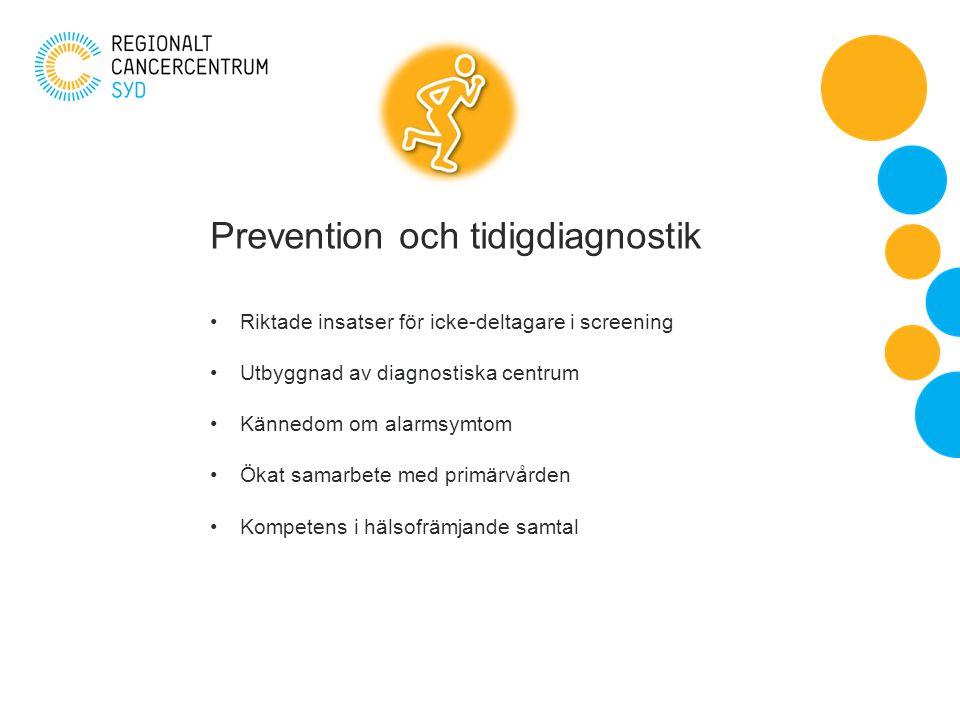 Prevention och tidigdiagnostik Riktade insatser för icke-deltagare i screening Utbyggnad av diagnostiska centrum Kännedom om alarmsymtom Ökat samarbete med primärvården Kompetens i hälsofrämjande samtal